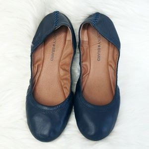 Lucky Brand Navy Blue Leather Emmie Ballet Flats